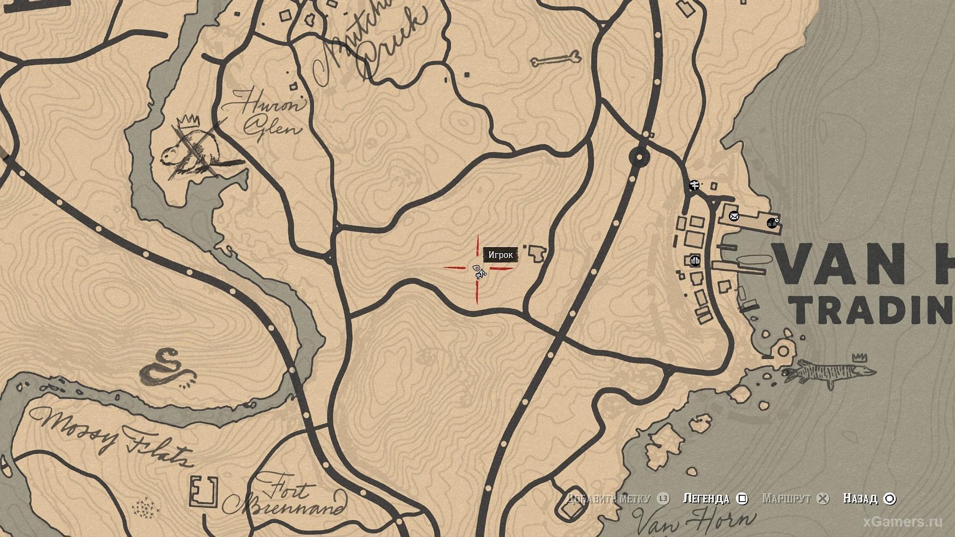 Отметка на карте где растет золотистая смородина RDR 2