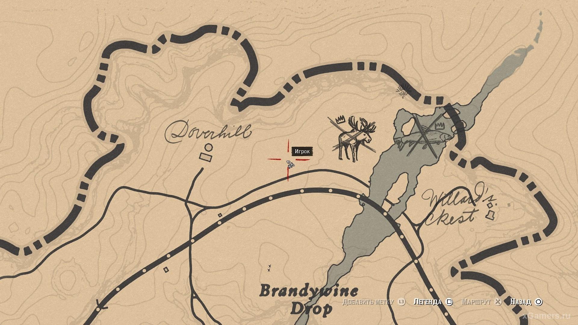 Отметка на карте где растет Гаультерия