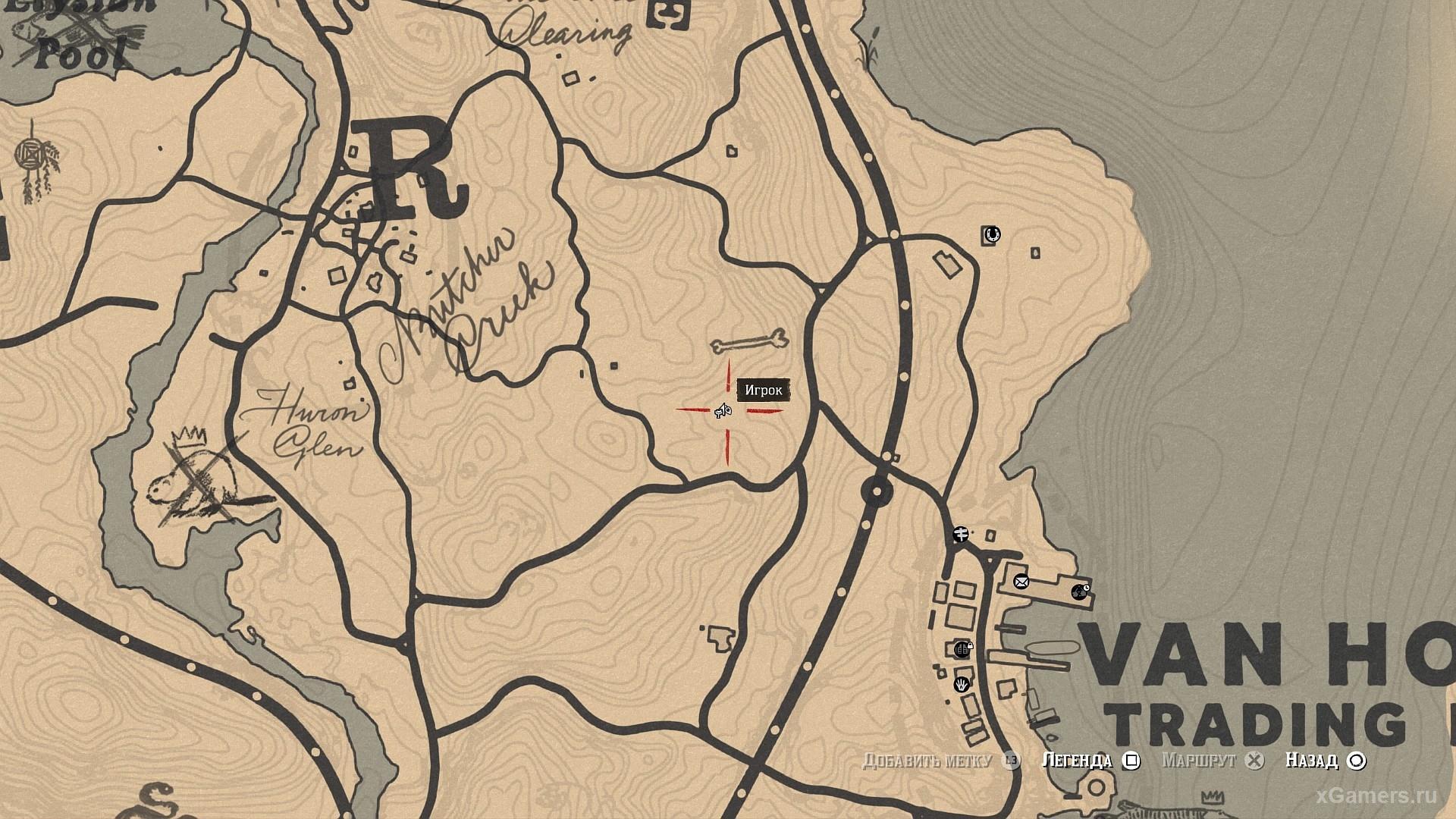 Отметка на карте где растет - овальнолистная черника