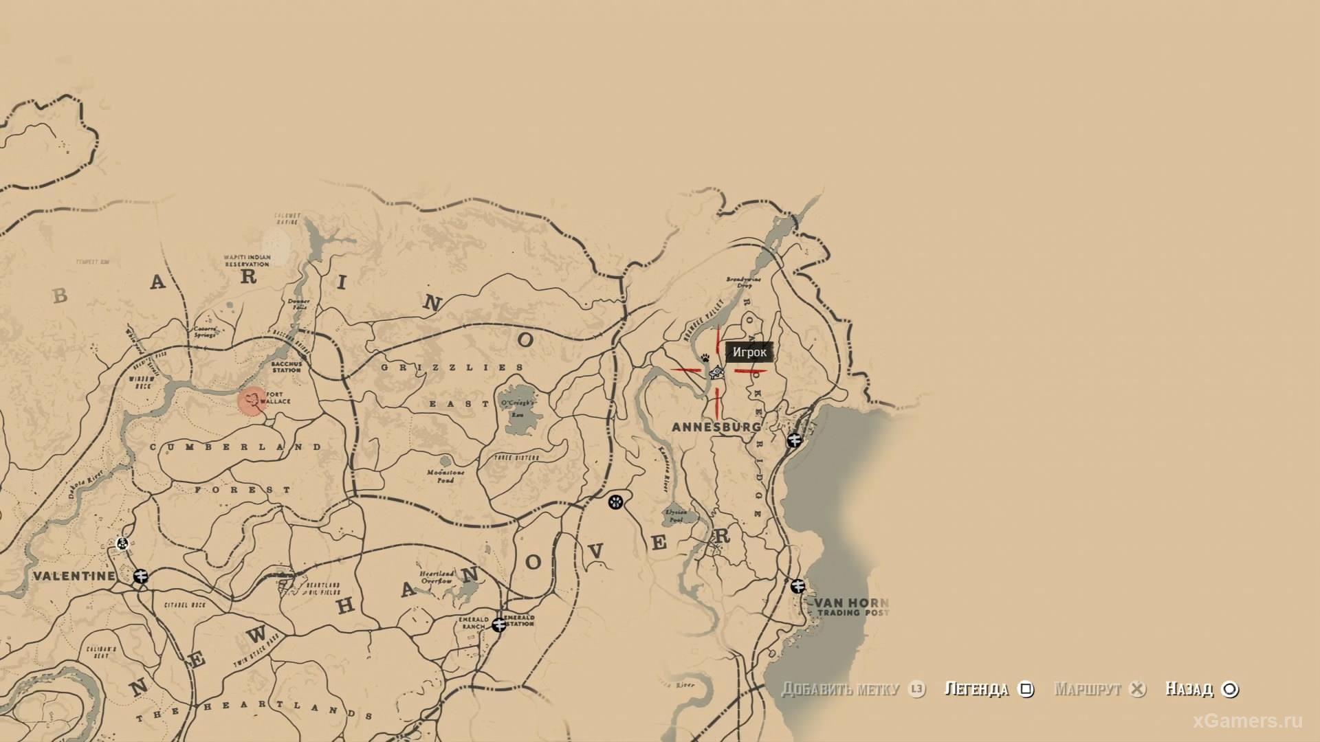Отметка на карте где находится первый ловец
