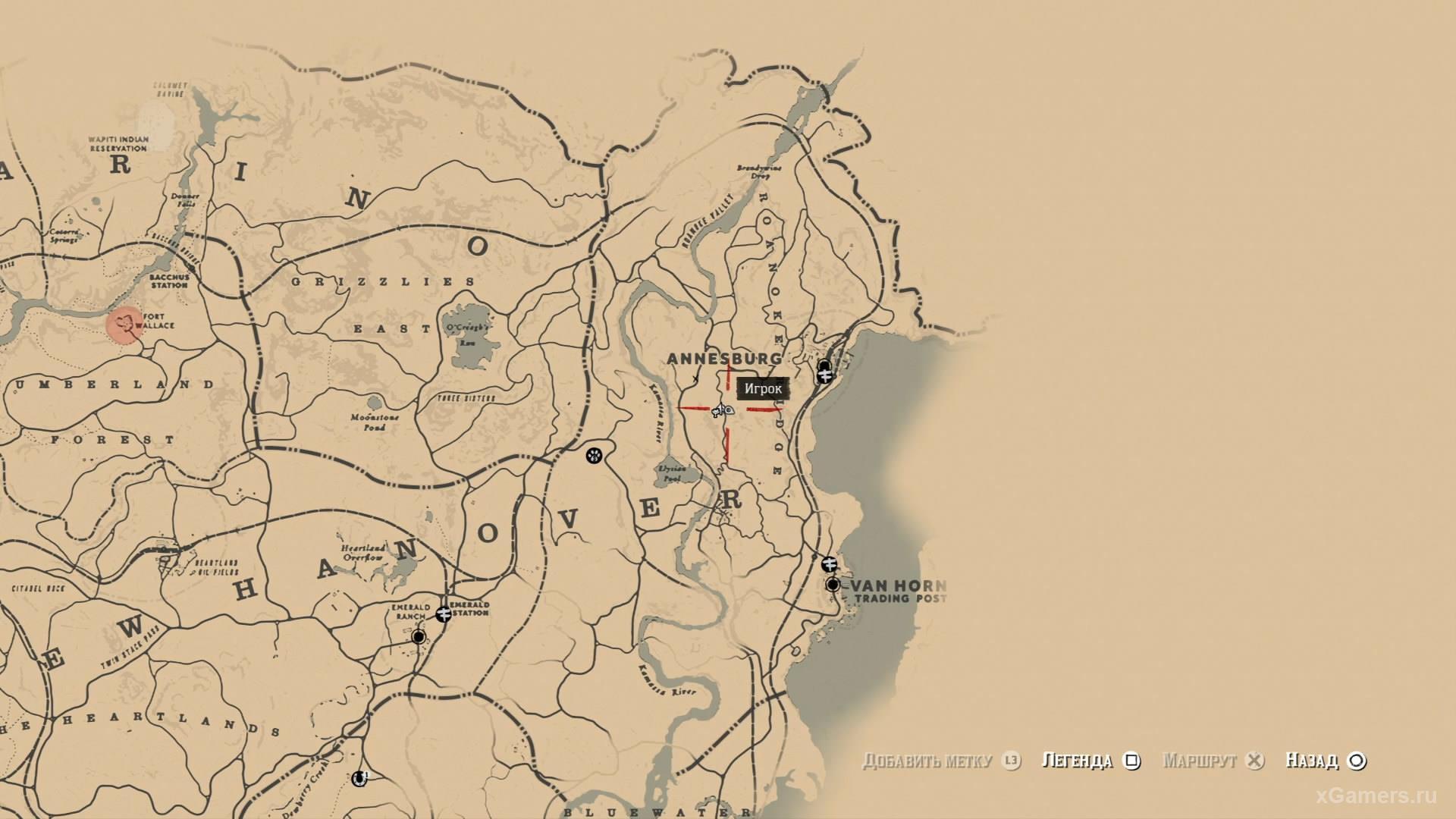 Отметка на карте где находится третий ловец