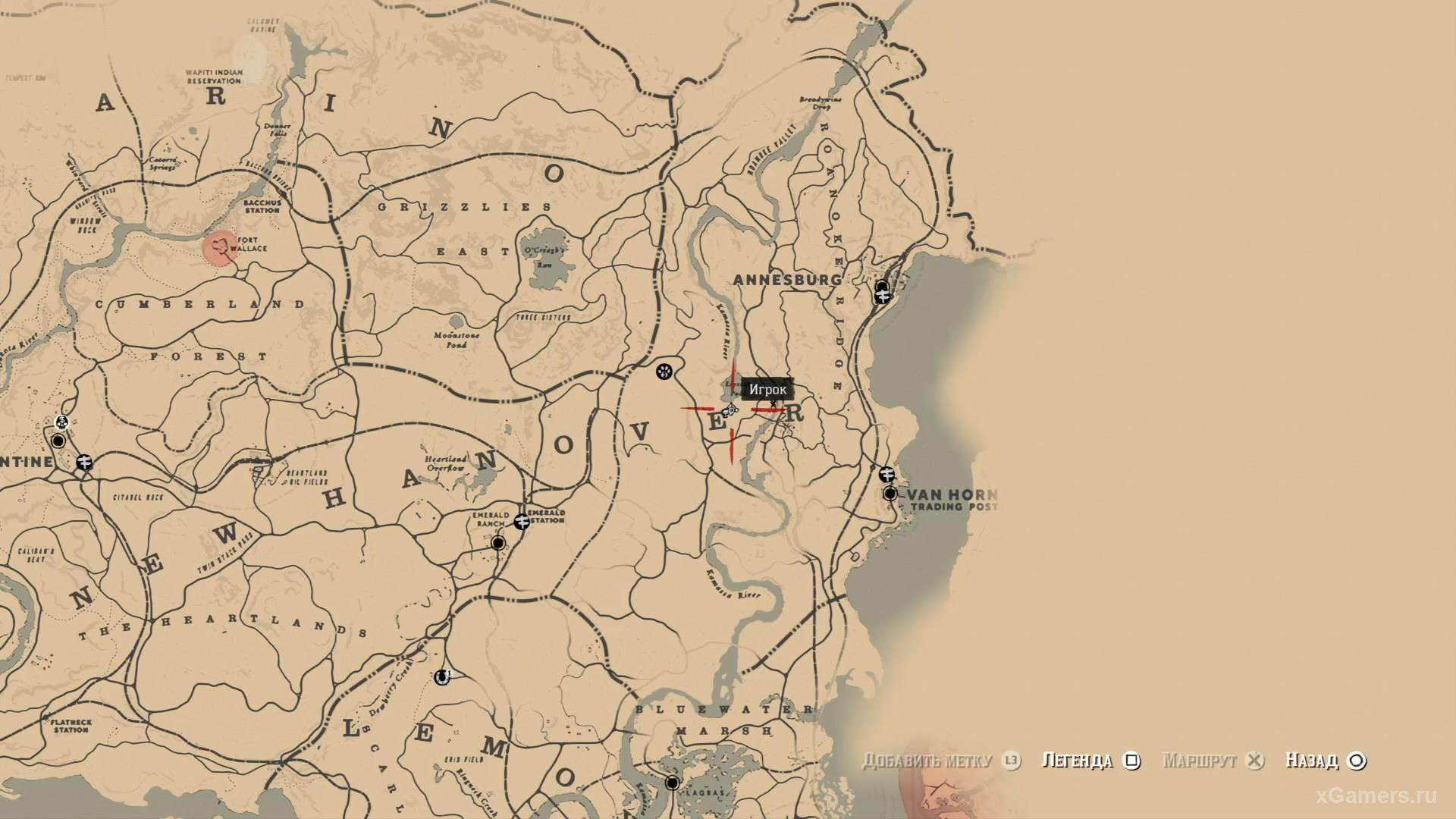 Отметка на карте где находится четвертый ловец