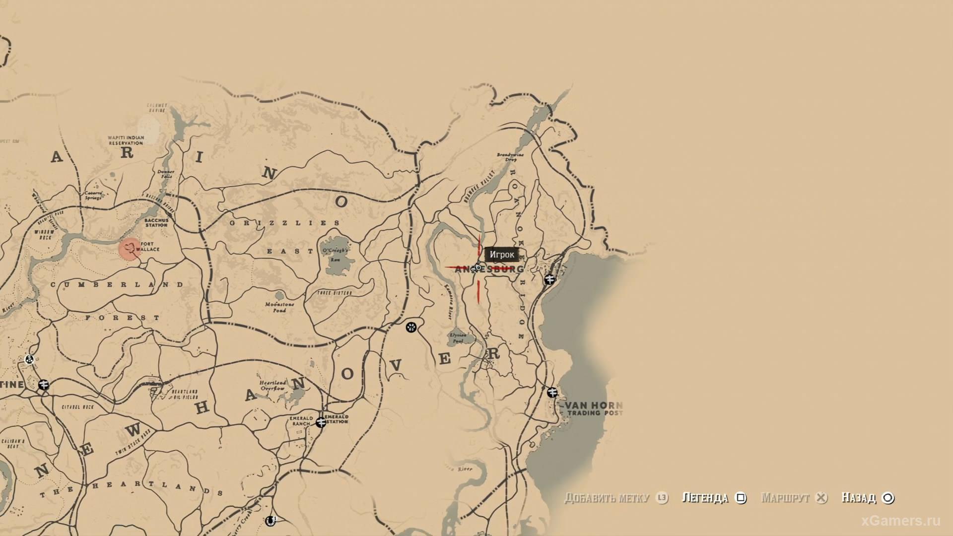 Отметка на карте где находится пятый ловец