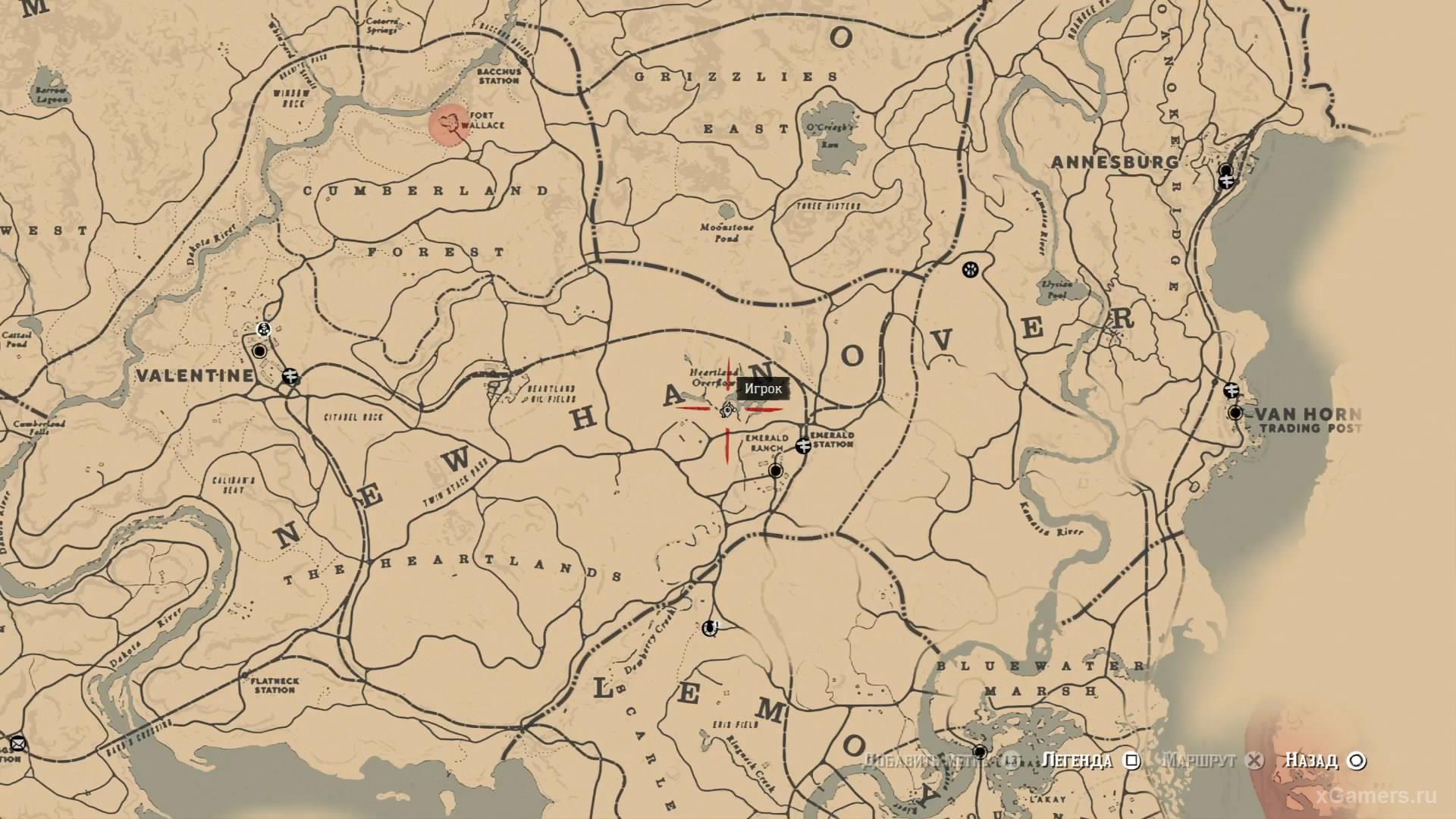 Отметка на карте где находится девятый ловец