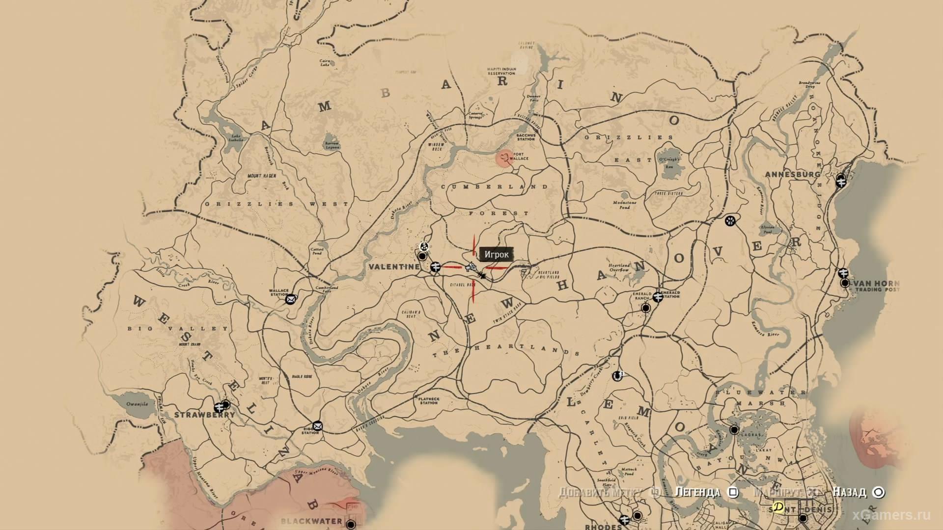 Отметка на карте где находится тринадцатый ловец