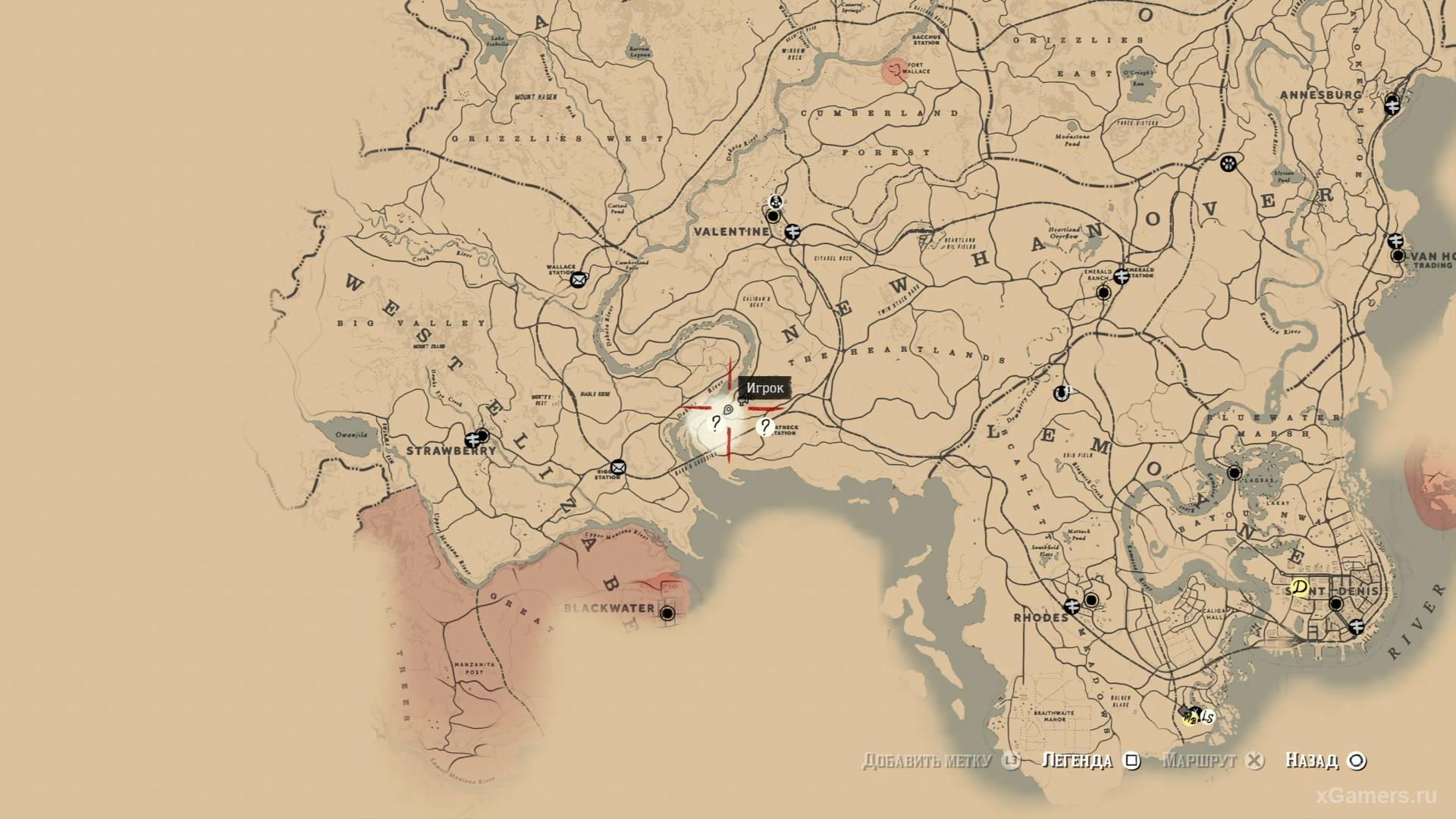 Отметка на карте где находится четырнадцатый ловец