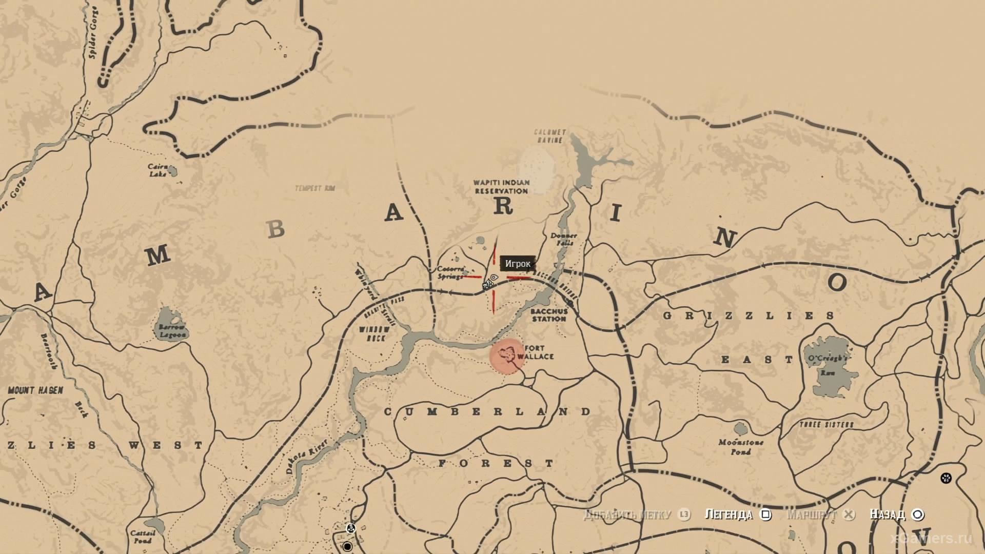 Отметка на карте где находится восемнадцатый ловец