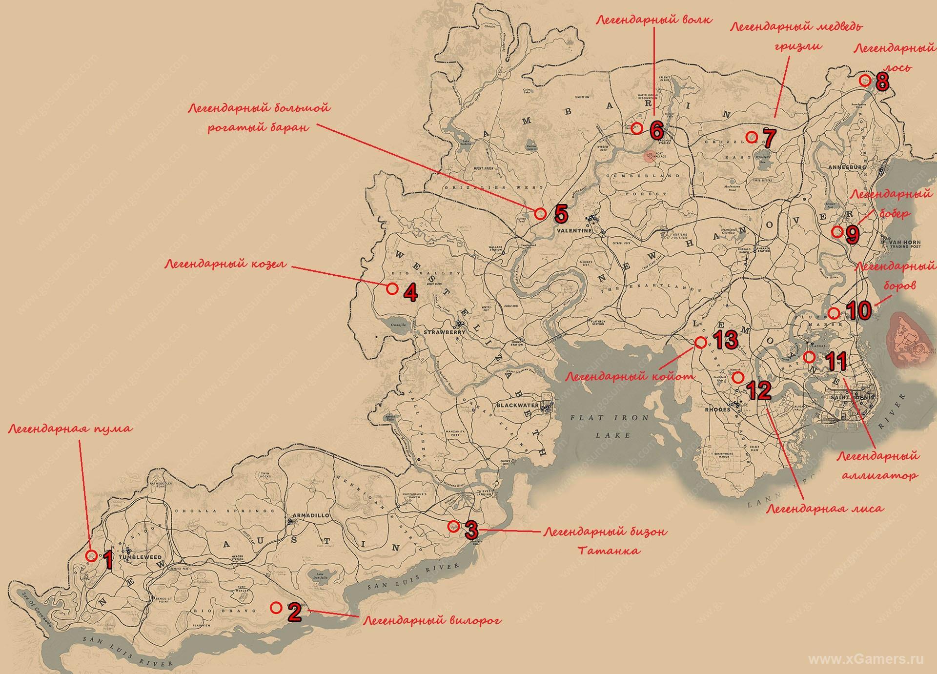 Карта легендарных животных в RDR 2