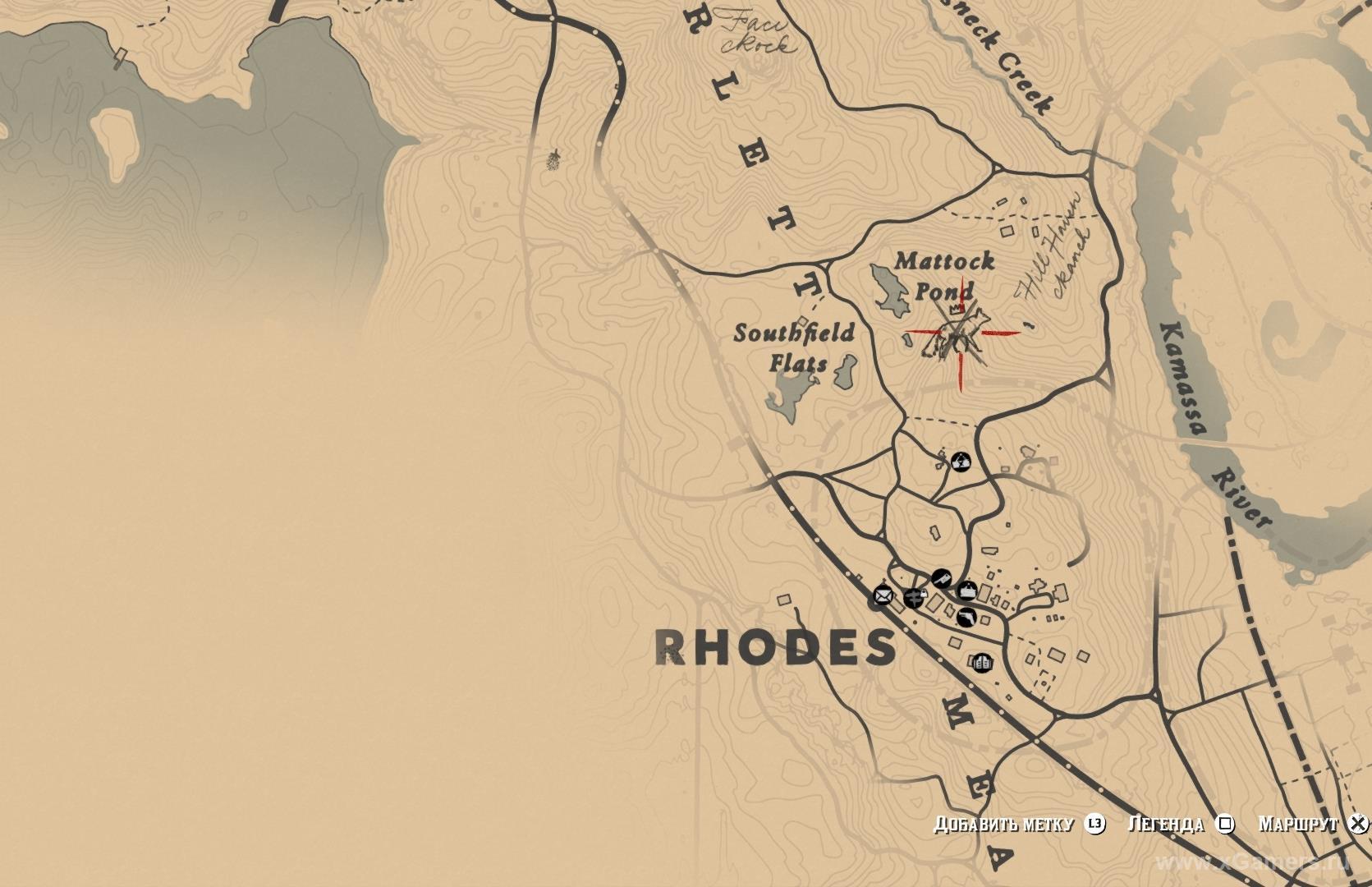 Отметка на карте где находится легендарная лиса