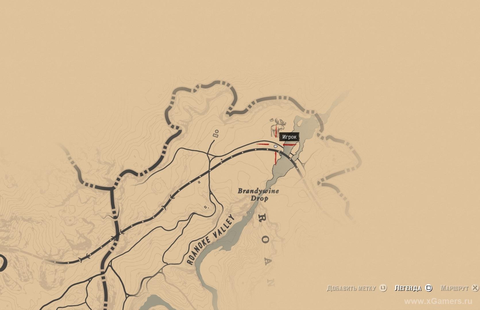Отметка на карте где находится легендарный лось