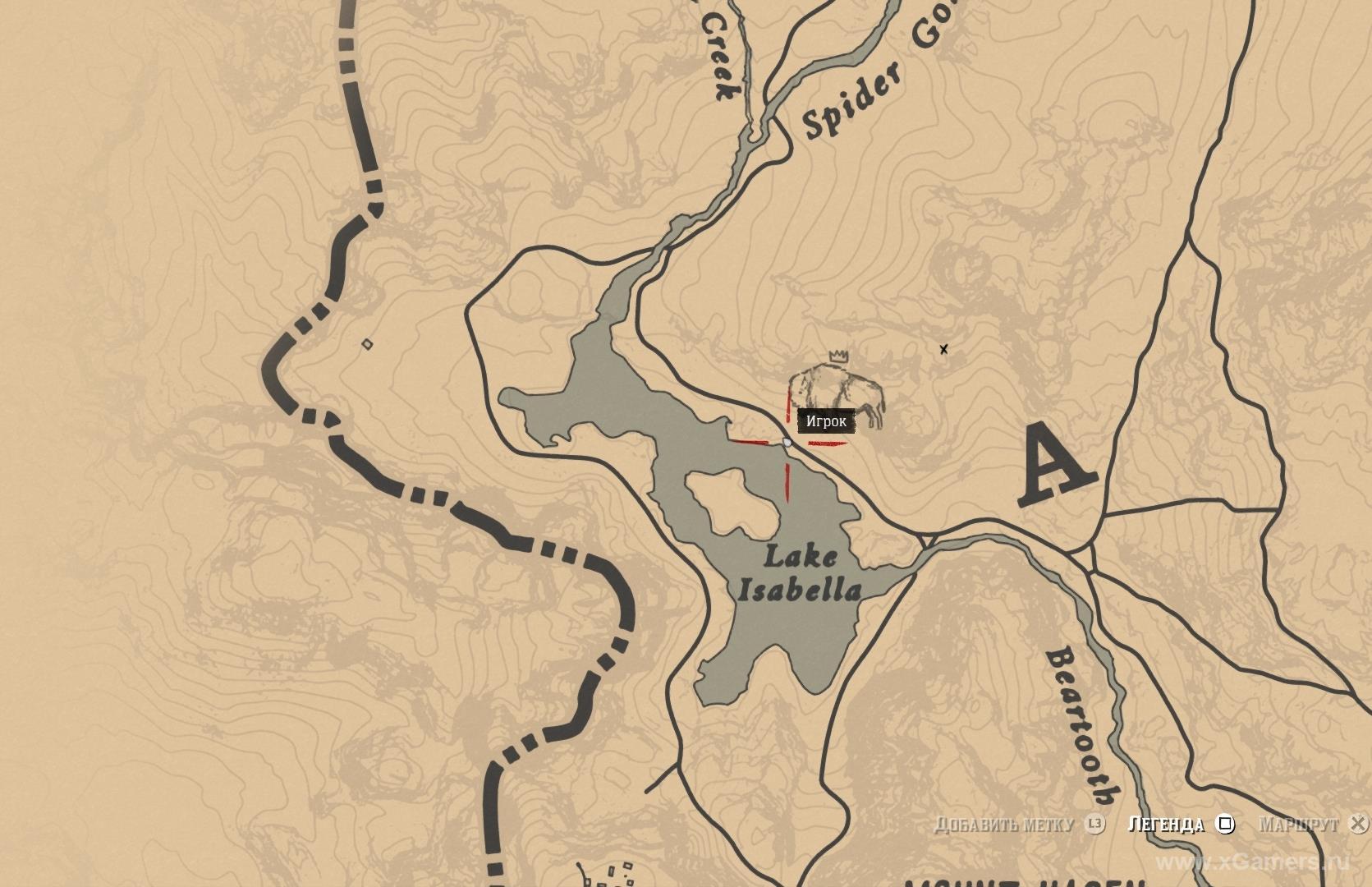 Отметка на карте где находится легендарный бизон