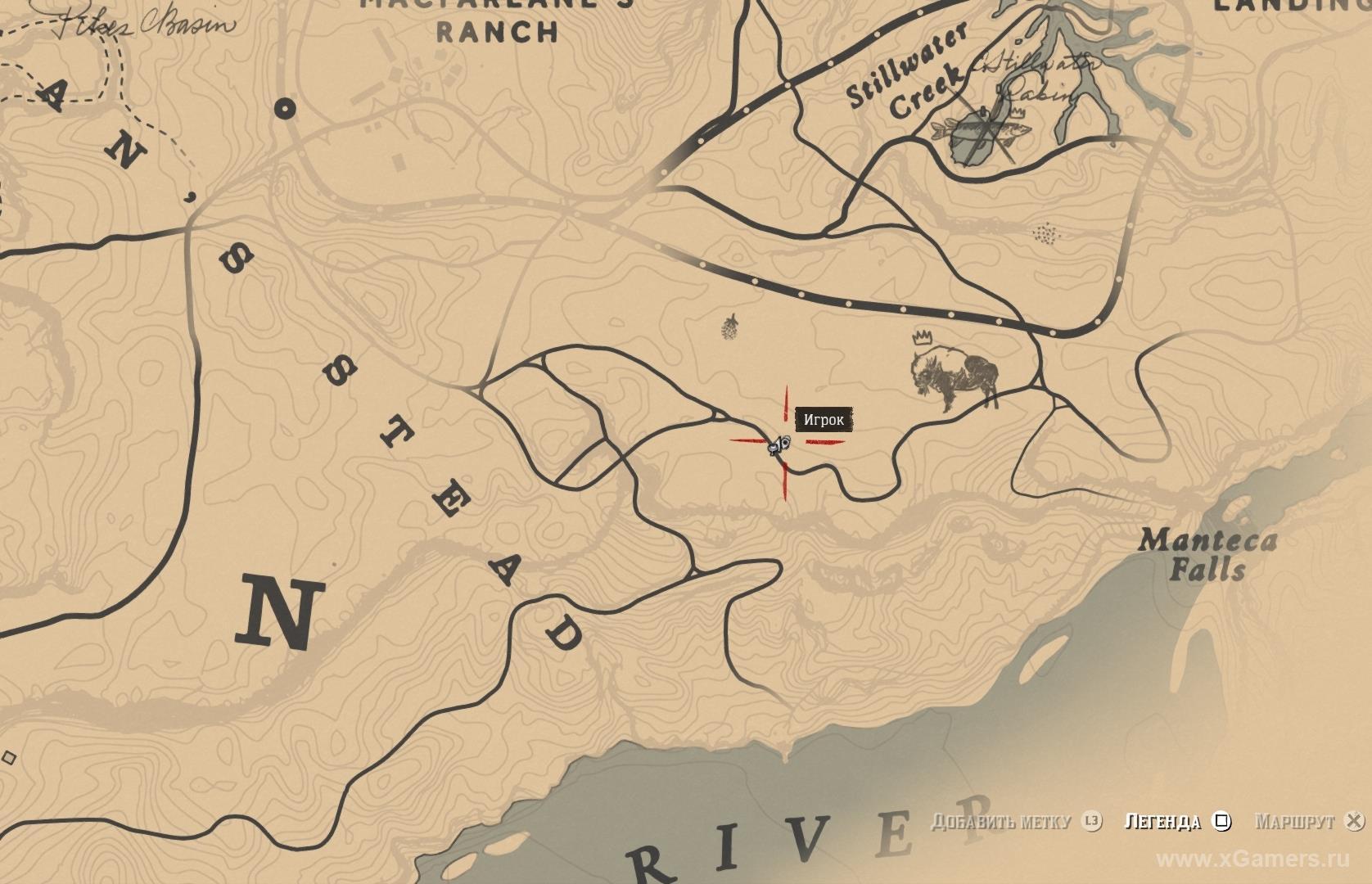 Отметка на карте где находится бизон Татанка