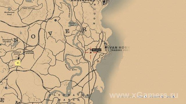Искомое место находится на севере от городкаRhodes в штате Леймон. Игроку нужна дорога вScarlett Meadows.
