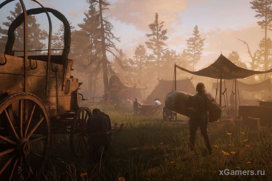 Пополнить боезапас или вылечить раны и выспаться Артур может в лагере