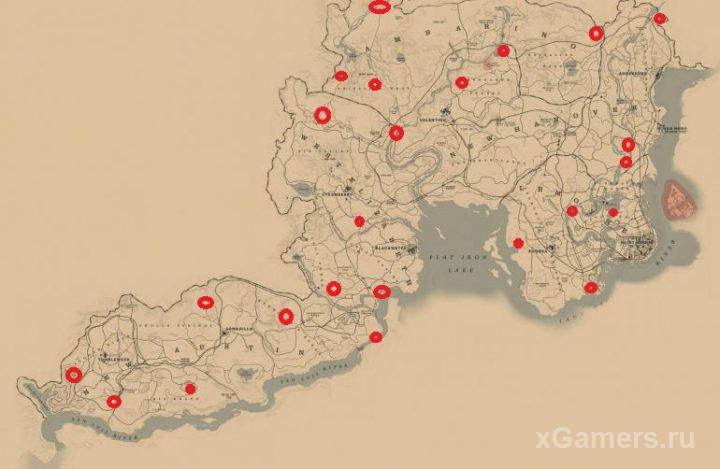 Все расположения лагерей на карте